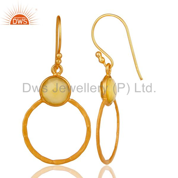 Designers Yellow Chalcedony 18K Gold Plated Sterling Silver Circle Earring
