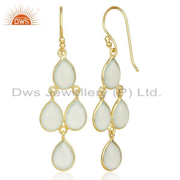 Designers Faceted Dyed Blue Chalcedony Bezel-Set Chandelier Earrings - Gold Plated Silver