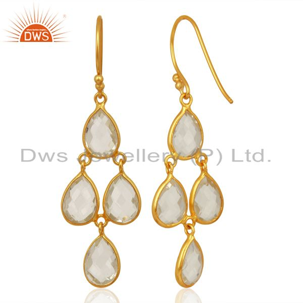 Suppliers 18K Yellow Gold Plated Sterling Silver Crystal Quartz Bezel Set Dangle Earrings
