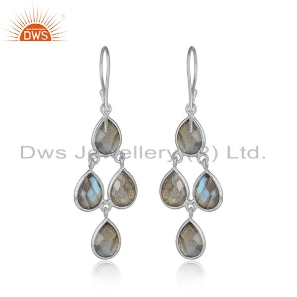 Designer of Handmade chandelier earring in silver 925 and labradorite