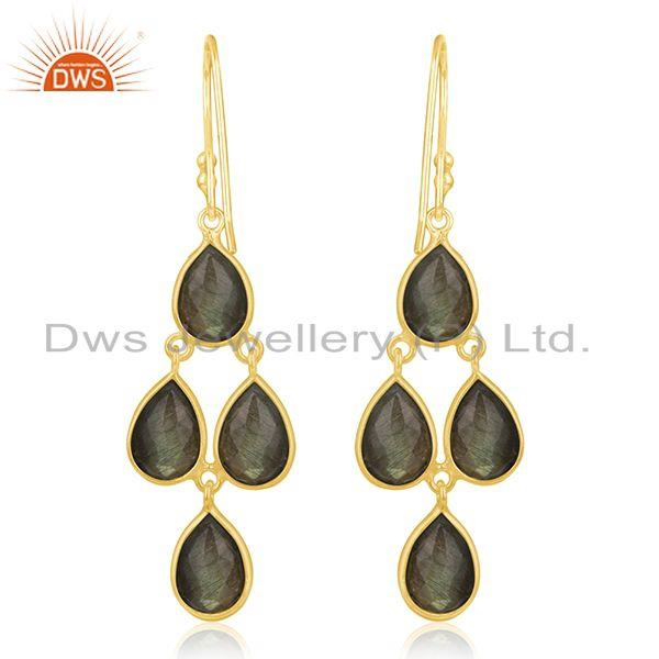 Suppliers Gold Plated 925 Silver Labradorite Gemstone Earring Jewelry Manufacturer