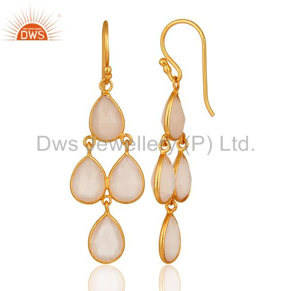 Designers 18K Gold Plated Sterling Silver Handmade Dyed Chalcedony Gemstone Dangle Earring
