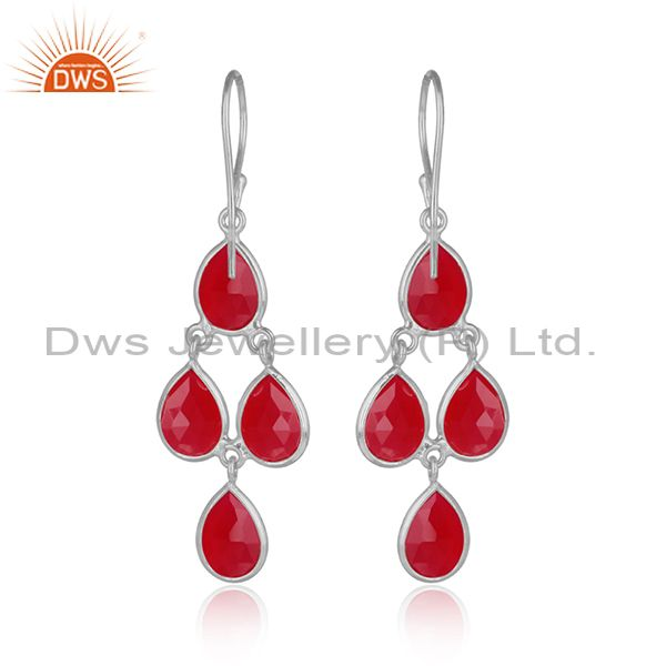 Designer of Handmade chandelier earring in silver 925 and pink chalcedony
