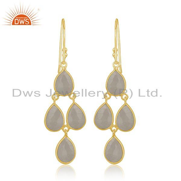 Suppliers Designer Gold Plated Silver Rainbow Moonstone Earring Jewelry