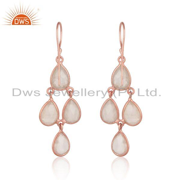 Designer of Handcrafted chandelier rose quartz earrings in rose gold on silver