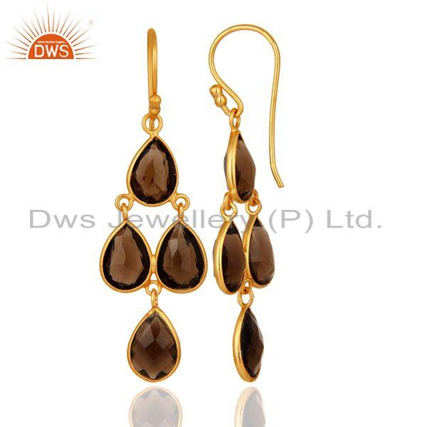Designers 14K Yellow Gold Plated Sterling Silver Bezel-Set Smoky Quartz Chandelier Earring