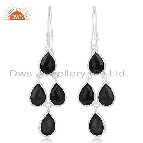 Suppliers Black Onyx Gemstone 925 Sterling Fine Silver Earring Jewelry Manufacturer