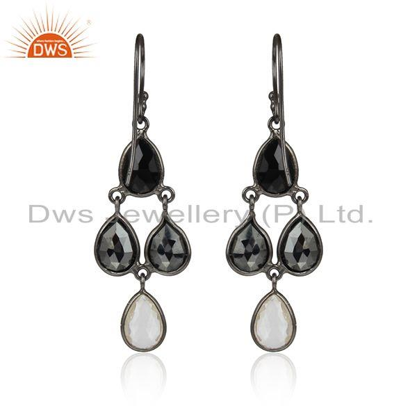 Designer of Onyx hematite gemstone black rhodium plated 925 silver earrings