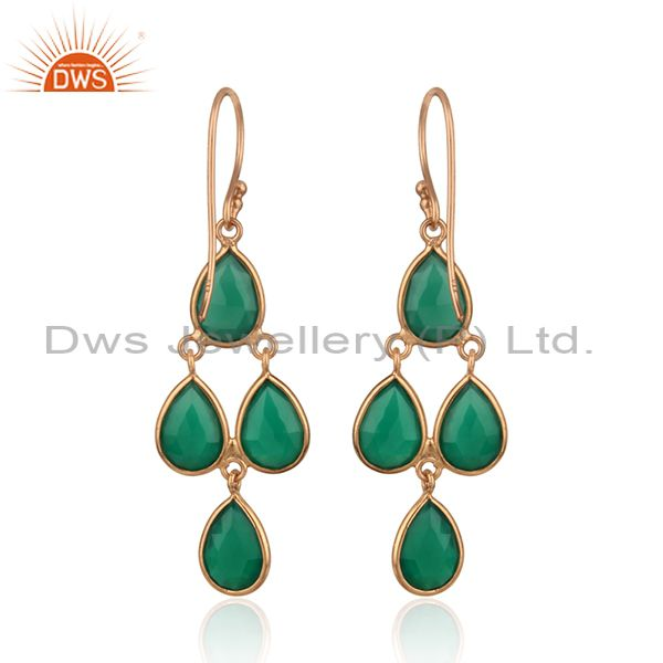 Suppliers Natural Green Onyx Gemstone Rose Gold Plated Silver Designer Earrings