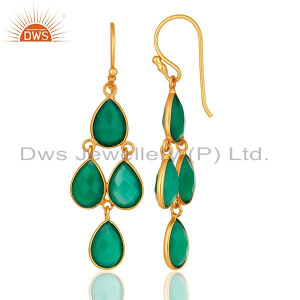 Designers Gold Plated Sterling Silver Green Onyx Gemstone Designer Dangle Earrings