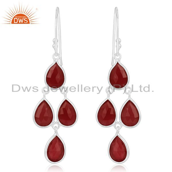 Suppliers Red Onyx Gemstone Fine 925 Sterling Silver Earring Manufacturer of Jewelry