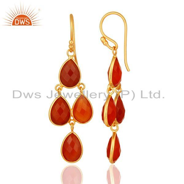 Designers Faceted Natural Red Onyx Gemstone Dangle Earrings in 18K Gold On Silver 925