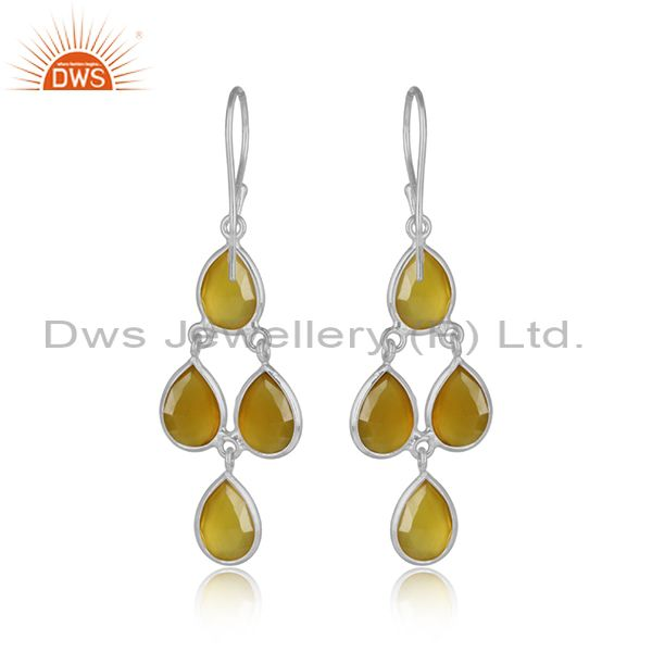 Designer of Handmade chandelier earring in silver 925 and yellow chalcedony