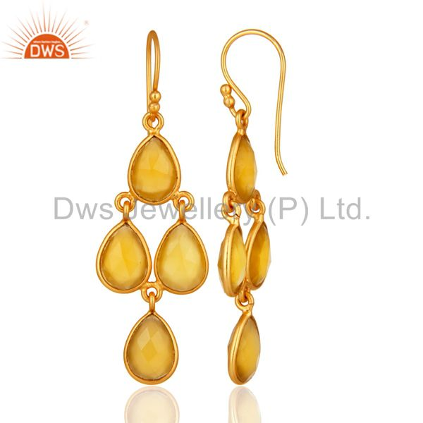 Designers Gold Plated Sterling Silver Chalcedony Bezel-Set Chandelier Earrings