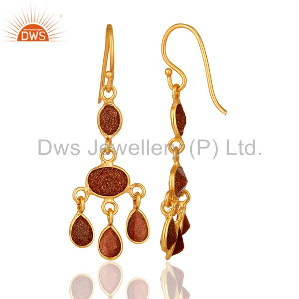 Suppliers Handmade Red Sun Sitara Earrings Made In 18K Yellow Gold Over Sterling Silver