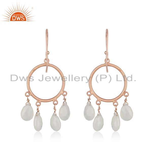 Suppliers 18K Rose Gold Plated Sterling Silver White Moonstone Drop Chandelier Earrings