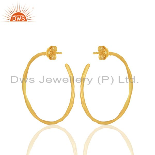 Suppliers 22K Yellow Gold Plated Sterling Silver Hammered Circle Hoop Earrings
