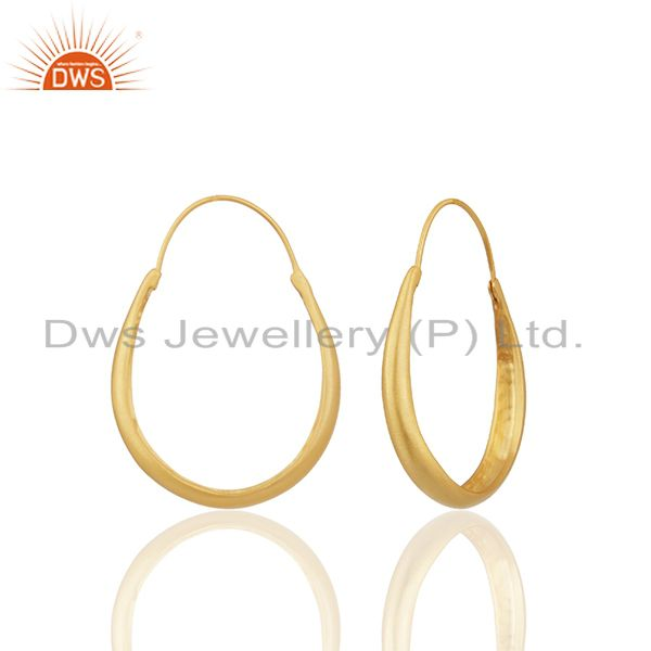 Suppliers 24k Yellow Gold Plated Sterling Silver Circle Design Hoop Earrings