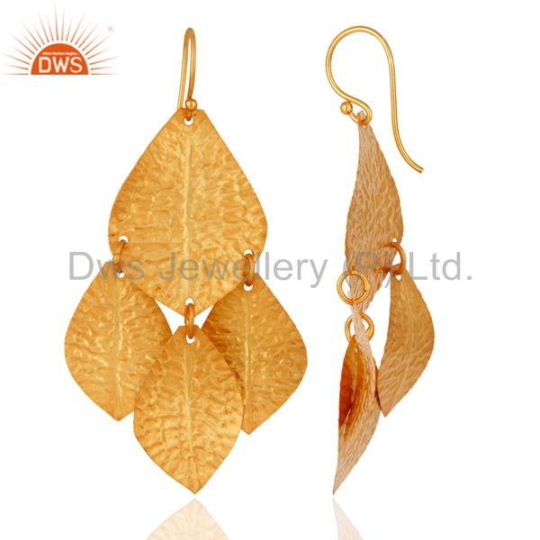 Suppliers 18K Yello Gold Plated Sterling Silver Classics Petals Womens Chandelier Earrings