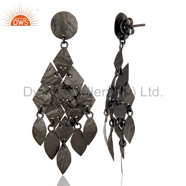 Suppliers Oxidized Sterling Silver Hammered Petals Womens Chandelier Earrings