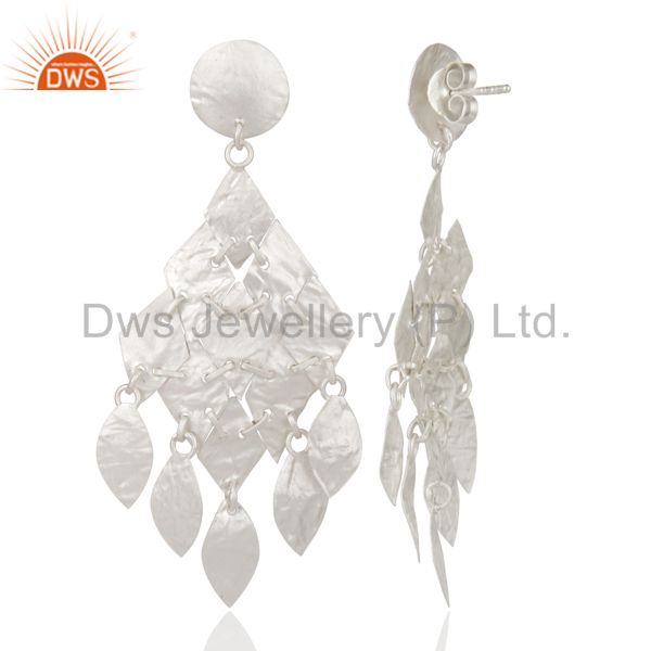 Suppliers 925 Sterling Silver Hammered Petals Womens Chandelier Earrings