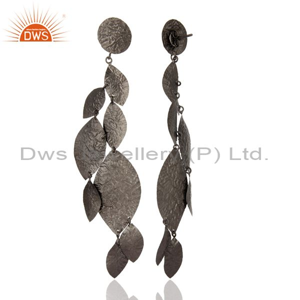 Designers Oxidized Solid Sterling Silver Designer Chandelier Earrings