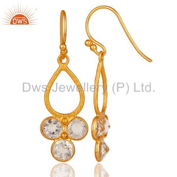 Designers 18K Gold Plated 925 Sterling Silver Crystal Quartz Dangle Earrings Jewelry