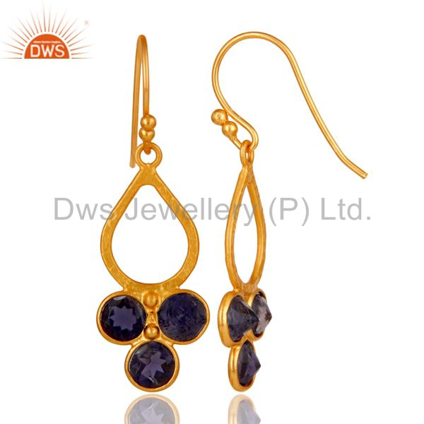 Designers 18K Gold Plated 925 Sterling Silver Handmade Iolite Dangle Earrings Jewelry