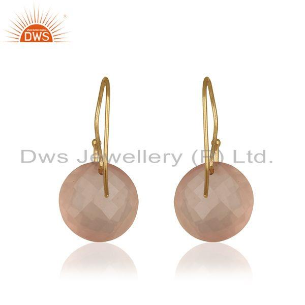 Suppliers Solid 9k Yellow Gold Rose Quartz Gemstone Earring Manufacturer Jaipur