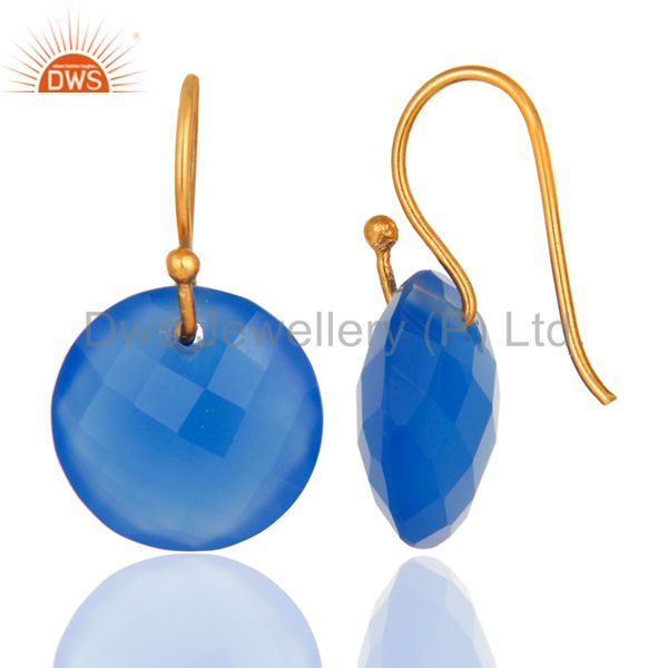 Designers Faceted Dyed Blue Chalcedony Yellow Gold Plated Sterling Silver Hook Earrings