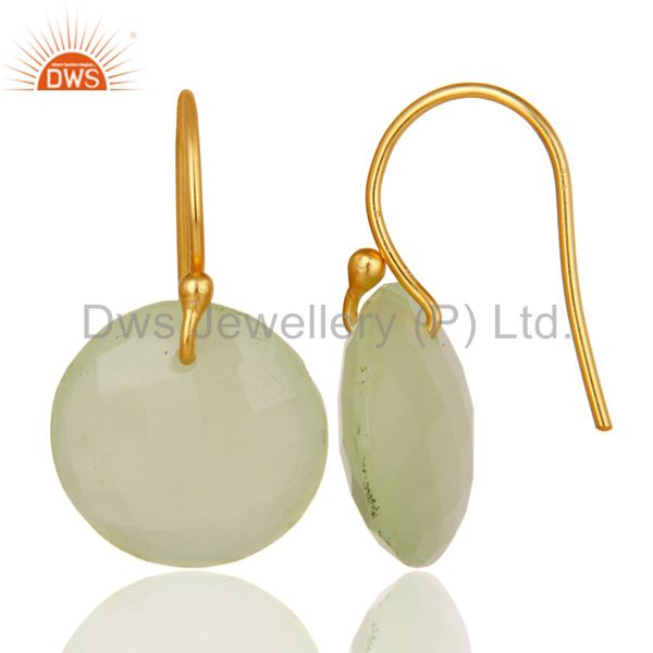 Designers Faceted Dyed Chalcedony Yellow 18K Gold Plated Sterling Silver Hook Earrings