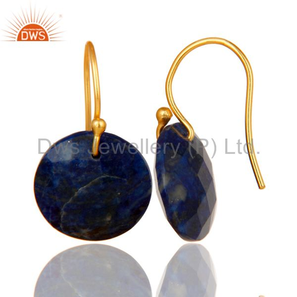 Designers Faceted Lapis Lazuli Yellow 18K Gold Plated Sterling Silver Hook Earrings