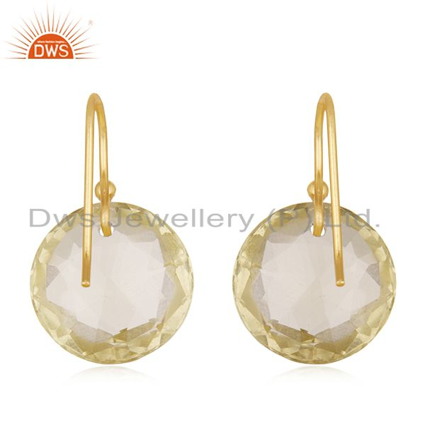 Suppliers 18K Yellow Gold Plated Sterling Lemon Topaz Gemstone Round Dangle Earrings