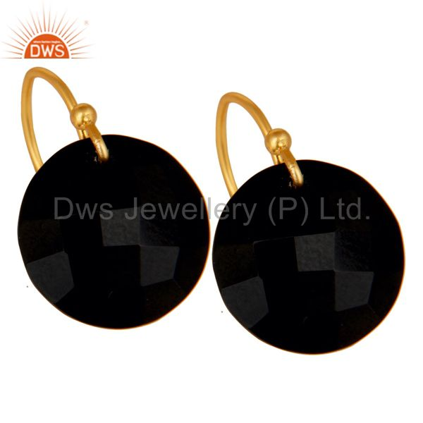 Designers Black Onyx Faceted Round Shape Gemstone Dangle Earrings In 18K Gold On Silver