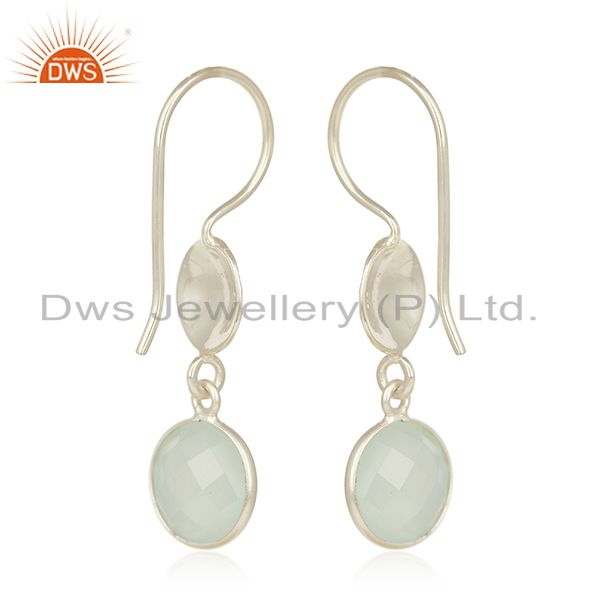 Wholesalers Handmade Sterling Silver Aqua Chalcedony Glass Gemstone Dangle Earrings