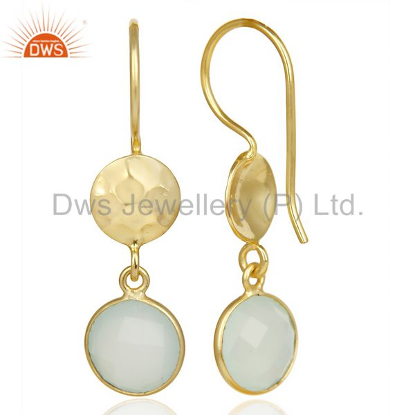 Suppliers Aqua Chalcedony Dangle 14K Yellow Gold Plated Sterling Silver Earrings Jewelry