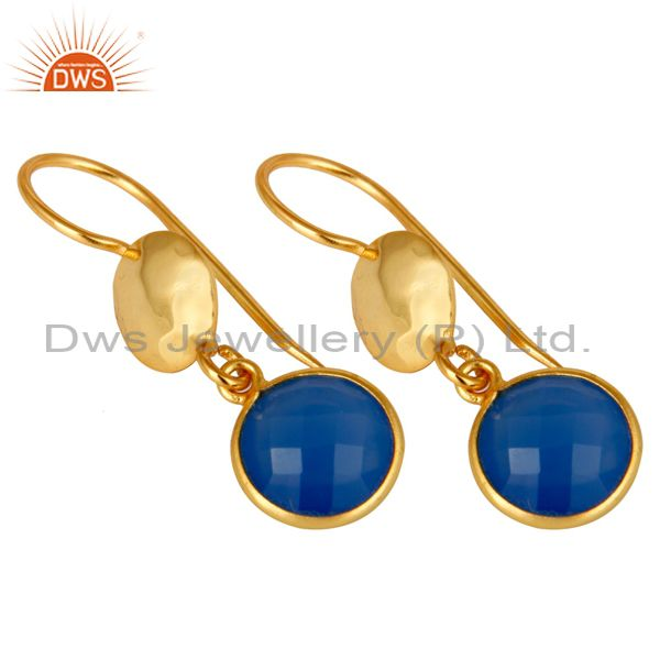 Designers 18K Yellow Gold Plated Sterling Silver Blue Chalcedony Disc Dangle Earrings