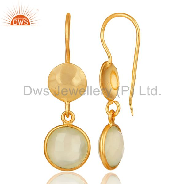 Designers 18K Yellow Gold Plated Sterling Silver Prehnite Chalcedony Disc Dangle Earrings
