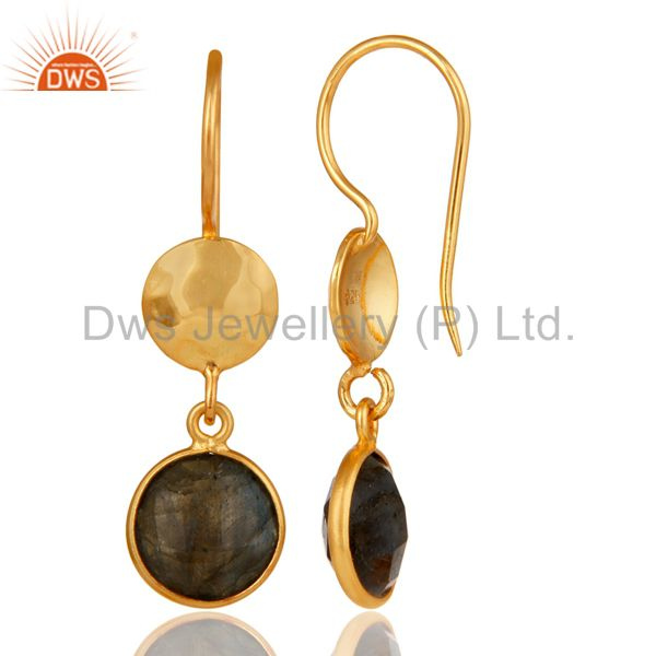 Designers 18K Yellow Gold Plated Sterling Silver Labradorite Disc Dangle Earrings