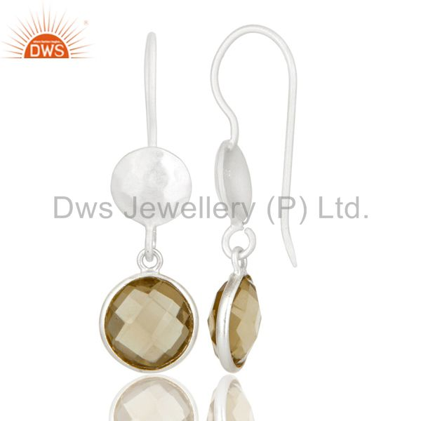 Designers 18K Gold Plated Sterling Silver Lemon Topaz Gemstone Bezel Set Dangle Earrings