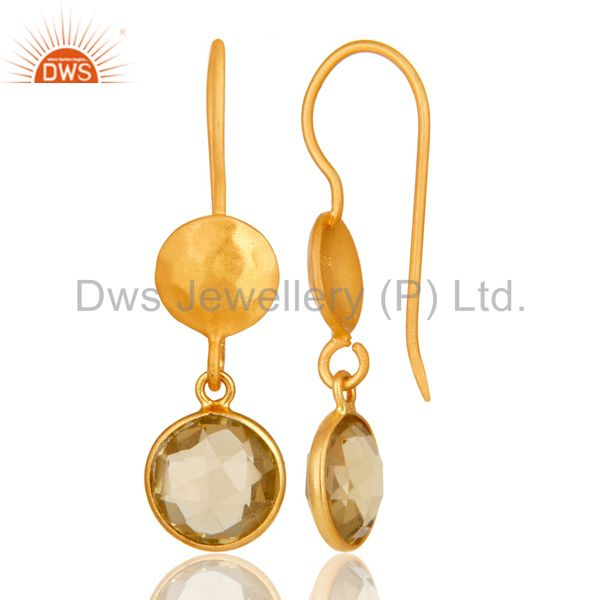 Designers 22K Yellow Gold Plated Sterling Silver Lemon Topaz Gemstone Dangle Earrings