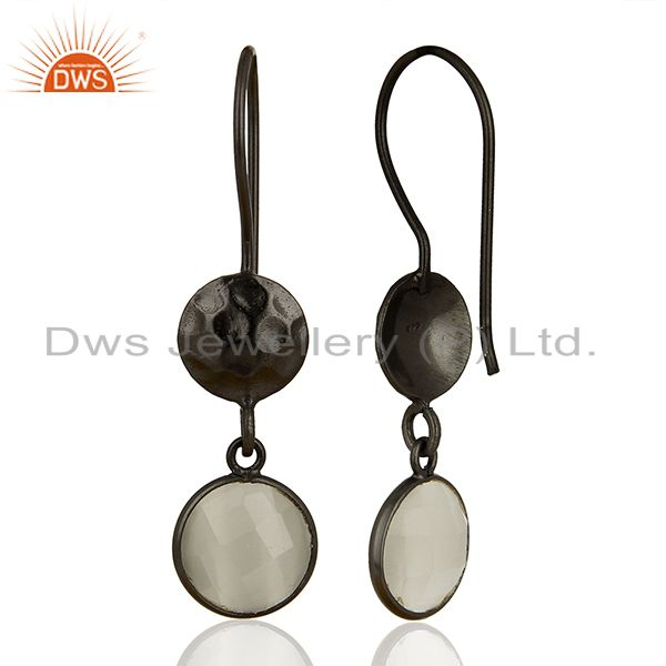 Suppliers Oxidized Solid Sterling Silver White Moonstone Hammered Disc Dangle Earrings