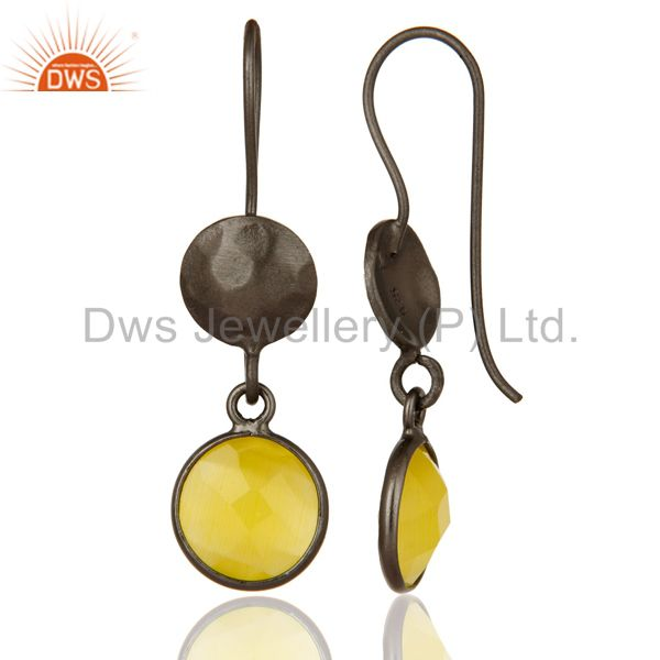 Designers Oxidized Solid Sterling Silver Yellow Moonstone Bezel Set Dangle Earrings