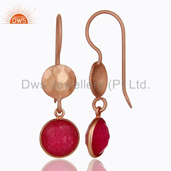 Designers 18K Rose Gold Plated Sterling Silver Red Aventurine Gemstone Dangle Earrings