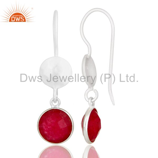 Designers Handmade Sterling Silver Red Aventurine Gemstone Dangle Earrings