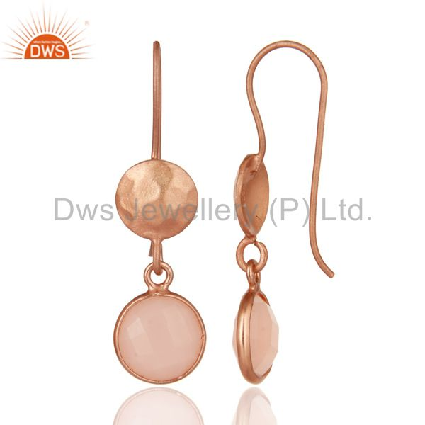 Designers 14K Rose Gold Plated Sterling Silver Dyed Chalcedony Bezel Set Drops Earrings