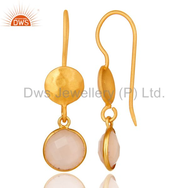 Wholesalers 14K Gold Plated 925 Sterling Silver Dyed Chalcedony Bezel Set Drops Earrings
