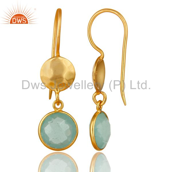 Designers 22K Gold Plated Silver Aqua Glass Chalcedony Hammered Disc Dangle Earrings