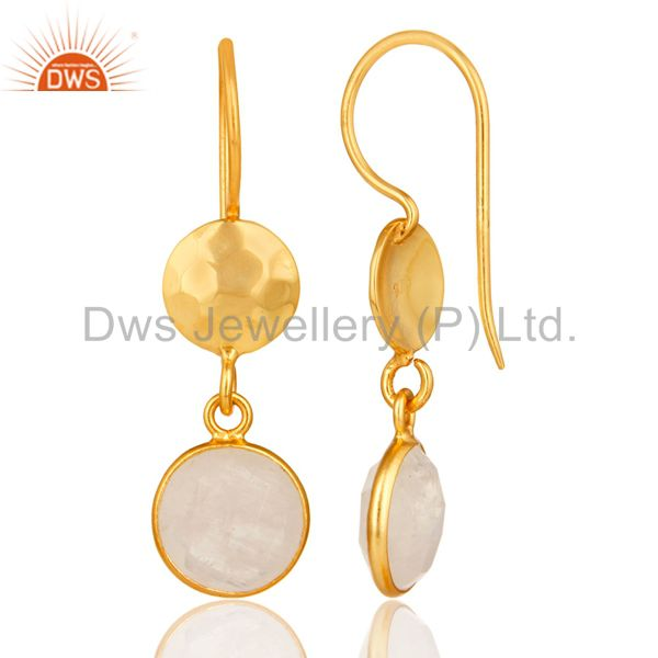 Designers Natural Rainbow Moonstone Dangle Earrings Made In 18K Gold Over Solid Silver