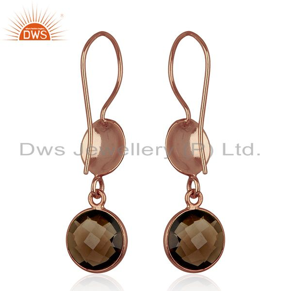 Wholesalers 18K Rose Gold Plated Sterling Silver Smoky Quartz Disc Dangle Earrings